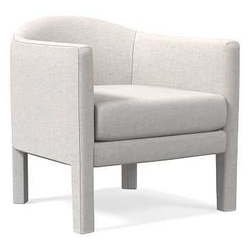 Isabella Fully Upholstered Chair, Performance Coastal Linen, Stone White - West Elm