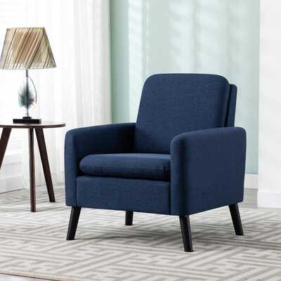 Modern Fabric Upholstered Accent Chair With Tapered Legs, Blue, Set Of 1 - Wayfair