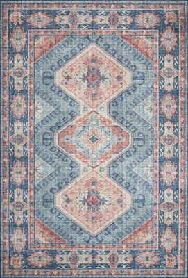"Skye SKY-03 Turquoise / Terracotta 5'-0"" x 7'-6"" - Loma Threads"