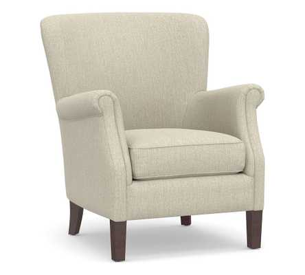 SoMa Minna Upholstered Armchair, Polyester Wrapped Cushions, Chenille Basketweave Oatmeal - Pottery Barn