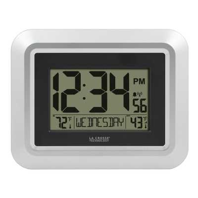 La Crosse Technology Atomic Digital Wall Clock with Temperature, Silver - Home Depot