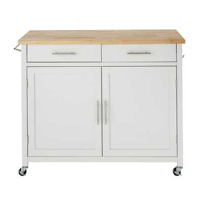 StyleWell Glenville White Rolling Kitchen Cart with Butcher Block, White / Wood Top - Home Depot