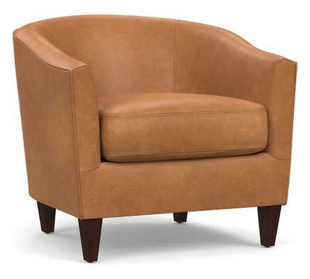 Harlow Leather Armchair, Polyester Wrapped Cushions, Churchfield Camel - Pottery Barn