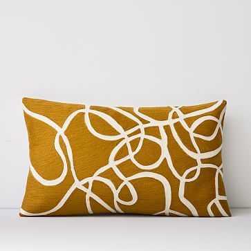 "Crewel Rope Pillow Cover, Dark Horseradish, 12""x21"" - West Elm"