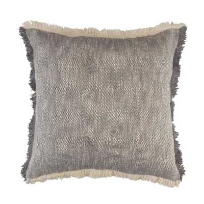 LR Home Lyra Gray / White Fringed Solid Cozy Poly-Fill 20 in. x 20 in. Throw Pillow - Home Depot
