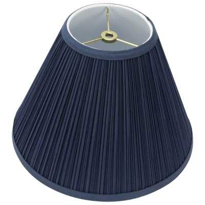 FenchelShades.com 12 in. Width x 8.25 in. Height Navy Blue Mushroom Pleat/Brass Hardware Coolie Lamp Shade, Navy Blue Mushroom Pleat/Brass Finish - Home Depot