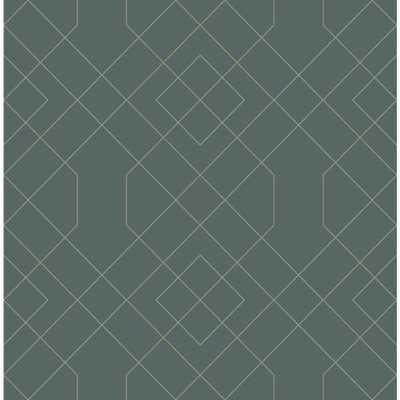 Scott Living Ballard Teal Geometric Strippable Wallpaper Covers 56.4 sq. ft., Blue - Home Depot