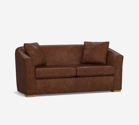 "Bodega Leather Loveseat 70.5"", Polyester Wrapped Cushions, Nubuck Graystone - Pottery Barn"
