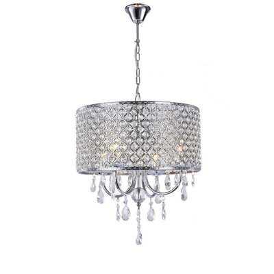 4-Light Chrome Round Modern Crystal Chandelier Pendant Hanging Ceiling Fixture - Wayfair