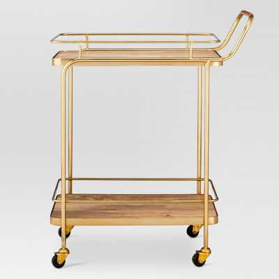 Metal, Wood, and Leather Bar Cart - Gold - Threshold - Target