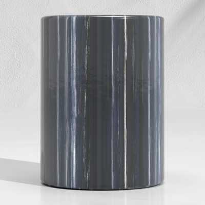 Cylinder Navy Blue Garden Stool End Table - Crate and Barrel
