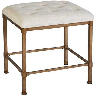 Hillsdale Furniture Katherine 15 in. x 18 in. Backless Vanity Stool in Golden Bronze and Cream - Home Depot