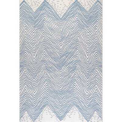 Zoey Chevron Polypropylene Blue/Off-White Indoor / Outdoor Use Area Rug - Wayfair
