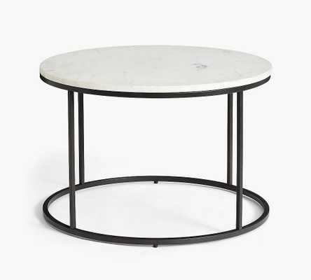"""Delaney 25"""" Round Marble Coffee Table, Bronze - Pottery Barn"""