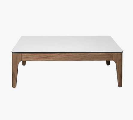 """La Mesa 35.5"""" Square Coffee Table, White - Pottery Barn"""