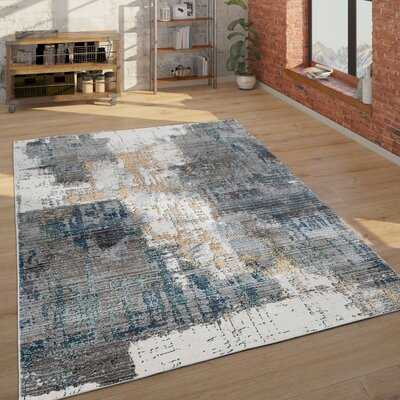 Abstract Rug For Living Rooms, Modern Design With 3D Effect In Grey Blue Cream - Wayfair