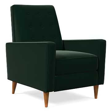 Rhys MidCentury Recliner, Poly, Astor Velvet, Evergreen, Pecan - West Elm