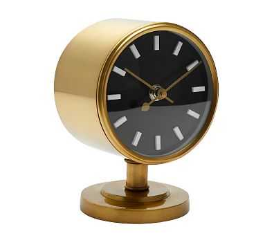 Flemming Desktop Clock, Brass - Pottery Barn