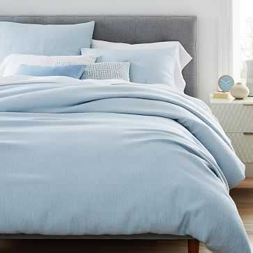 TENCEL(TM) Cotton Matelasse Duvet, King, Glass Blue - West Elm