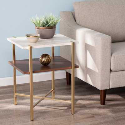 Southern Enterprises Ballia Brass and Dark Tobacco with White Faux Travertine Square Storage End Table, Brass and dark tobacco finish w/ white faux - Home Depot