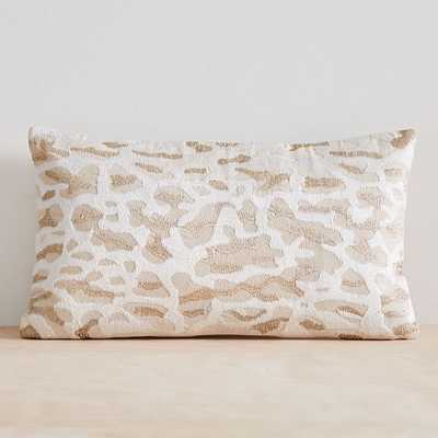 """Embroidered Animal Print Pillow Cover, 12""""x21"""", Metallic Gold - West Elm"""