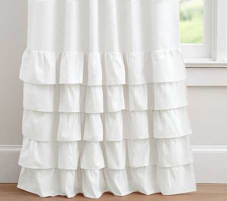 Evelyn Ruffle Bottom, 84 Inches, White, Set of 2 - Pottery Barn Kids