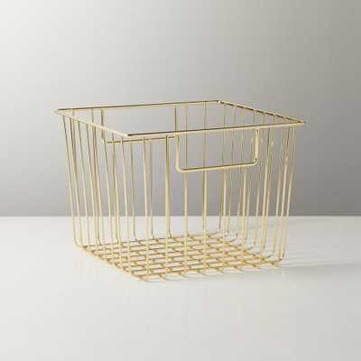 Roscoe Small Square Metal Basket - CB2