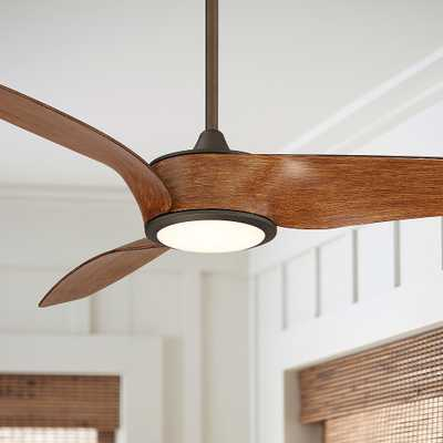 "56"" Casa Como Bronze and Koa LED Ceiling Fan - Style # 79D73 - Lamps Plus"