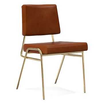 Wire Frame Dining Chair Leather Saddle, Antique Brass - West Elm