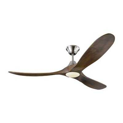 "60"" Bohner 3 - Blade Outdoor LED Standard Ceiling Fan with Remote Control, Light Kit Included - Birch Lane"