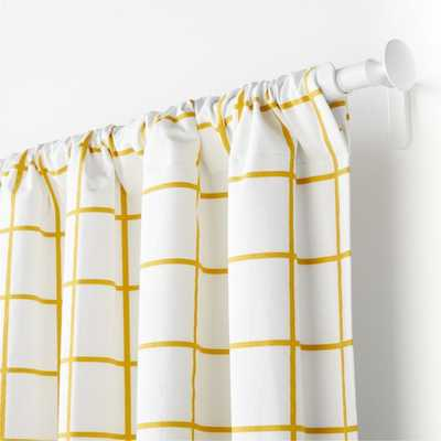 "Yellow Grid 96"" Curtain Panel - Crate and Barrel"