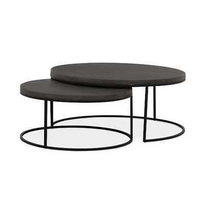 "Lavastone & Iron Nesting Coffee Tables, Black, 36"" - West Elm"