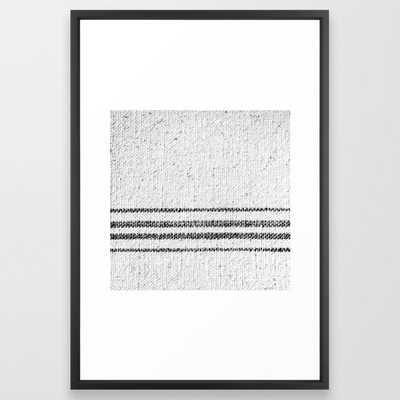 Farmhouse Grain Sack Black Stripes Framed Art Print by Christina Lynn Williams - Vector Black - LARGE (Gallery)-26x38 - Society6