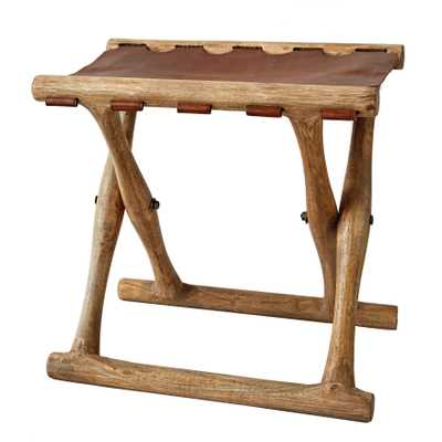Foldable Leather Stool with Acacia Wood Frame - Nomad Home