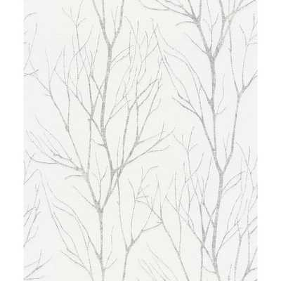 Advantage Diani White Metallic Tree Wallpaper, 21-in by 33-ft - Home Depot