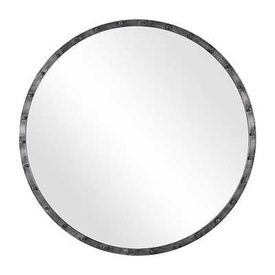 Industrial Riveted Round Mirror, Silver - West Elm