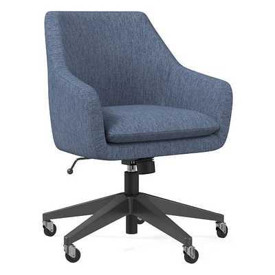 Helvetica Office Chair, Performance Coastal Linen, Midnight, Antique Bronze - West Elm