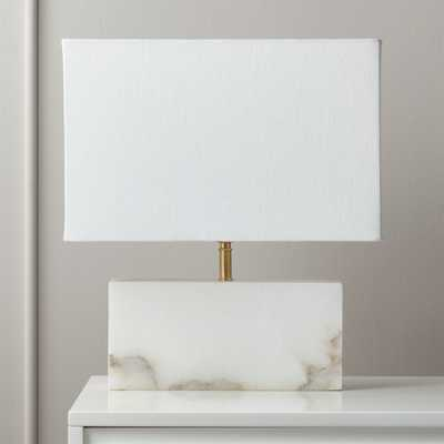 White Alabaster Rectangle Table Lamp - CB2
