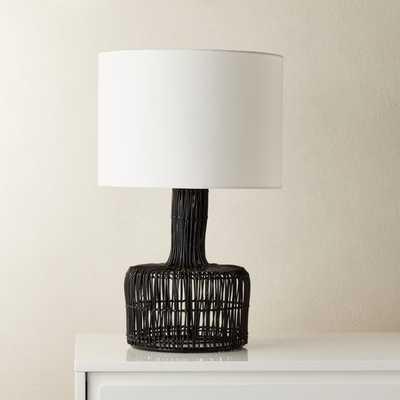 Wicker Black Table Lamp - CB2