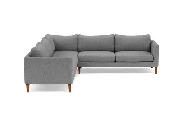 Owens Corner Sectional with Grey Plow Fabric and Oiled Walnut legs - Interior Define