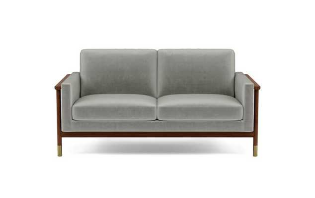 Jason Wu Loveseats with Grey Greige Fabric and Oiled Walnut with Brass Cap legs - Interior Define