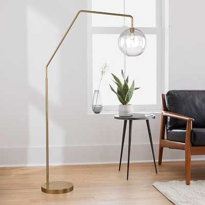 "Sculptural Overarching Floor Lamp, Globe Medium, Clear, Antique Brass 10"" shade - West Elm"
