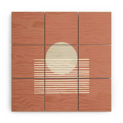 "Terracota Sunset by Mambo Art Studio - Wood Wall Mural5' x 5' (Nine 20"" wood Squares) - Wander Print Co."