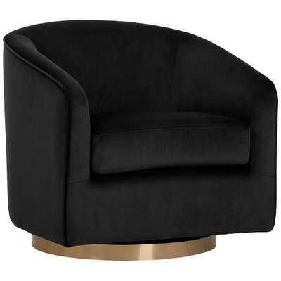 Hazel Black Sky and Antique Brass Swivel Armchair - Style # 78J27 - Lamps Plus