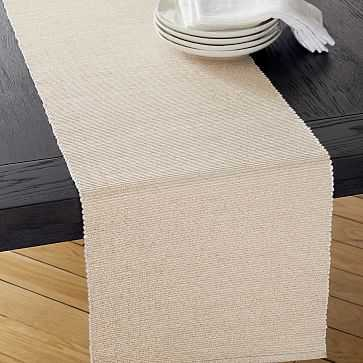 New Riviera Table Runner, Belgian Flax + Champagne - West Elm