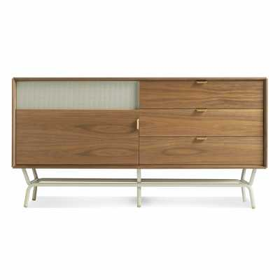 """Blu Dot Dang TV Stand for TVs up to 65"""" Color: Walnut/Grey - Perigold"""