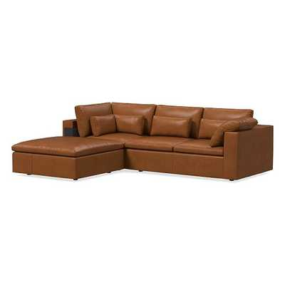 Harmony Modular Sectional Set 02: Right Arm Sofa + Corner + Ottoman, Down, Ludlow Leather, Mace, Concealed Supports - West Elm