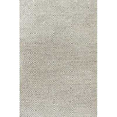 Linton Geometric Handmade Tufted Ivory Area Rug - Birch Lane