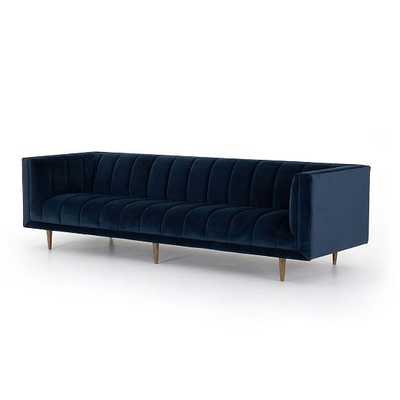"""Channel Tufted Sofa, 103"""", Navy - West Elm"""
