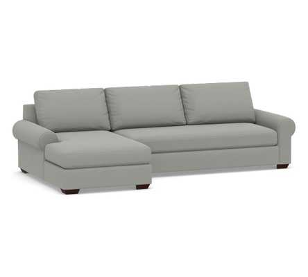 Big Sur Roll Arm Upholstered Right Arm Sofa with Chaise Sectional and Bench Cushion, Down Blend Wrapped Cushions, Performance Everydaysuede(TM) Metal Gray - Pottery Barn